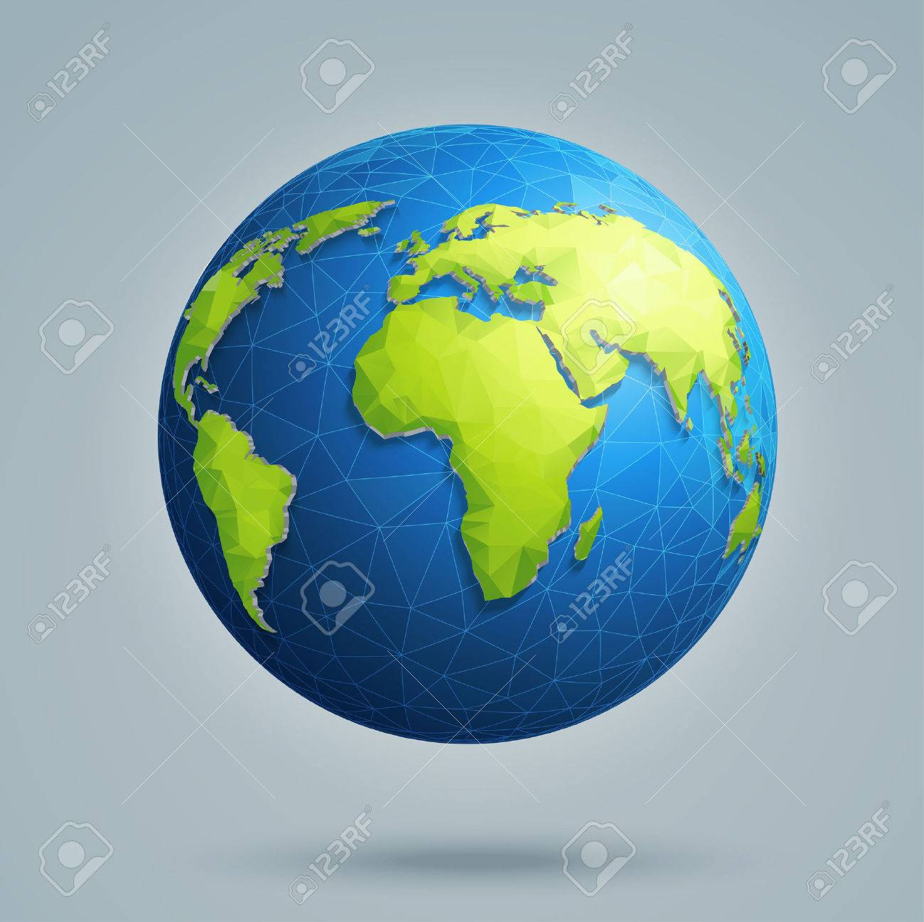 Polygonal 3D globe with global connections. Earth, world map. - 59040301