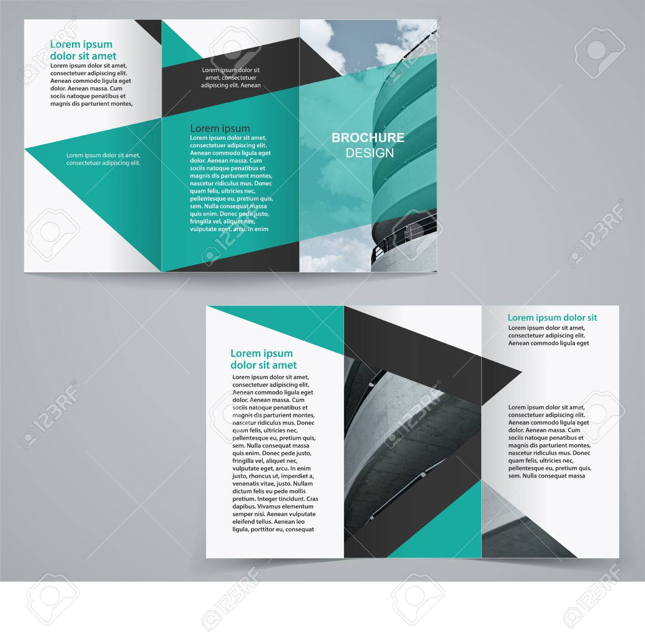 tri fold business brochure template two sided template design
