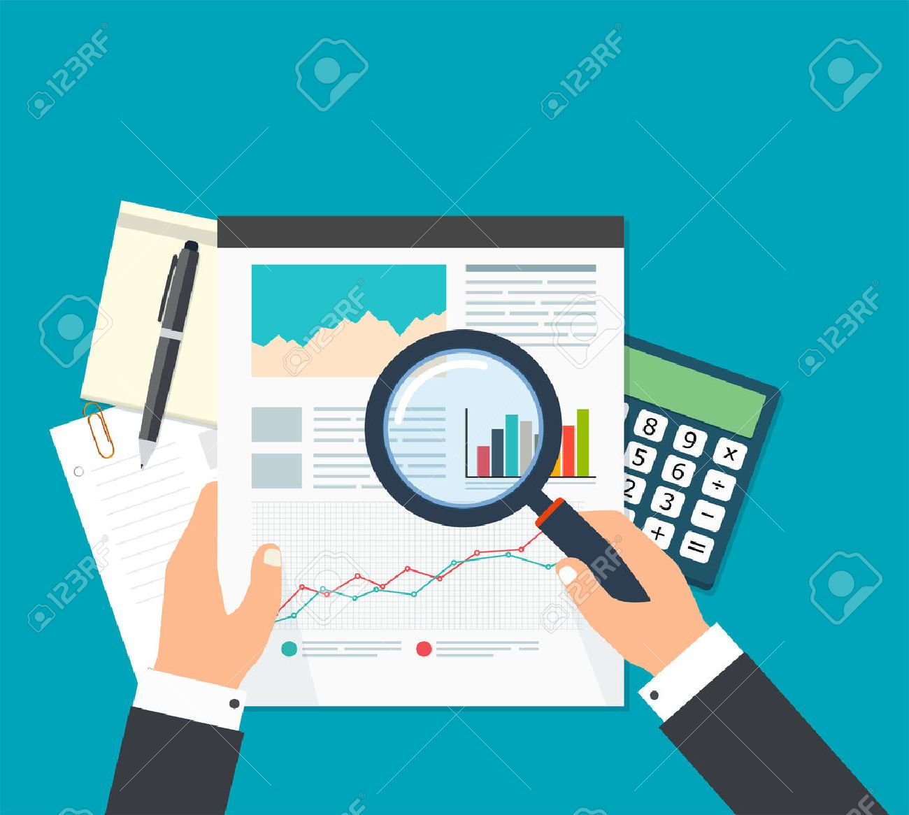Business analyst, financial data analysis. Businessman with magnifying glass is looking financial reports. - 59040375