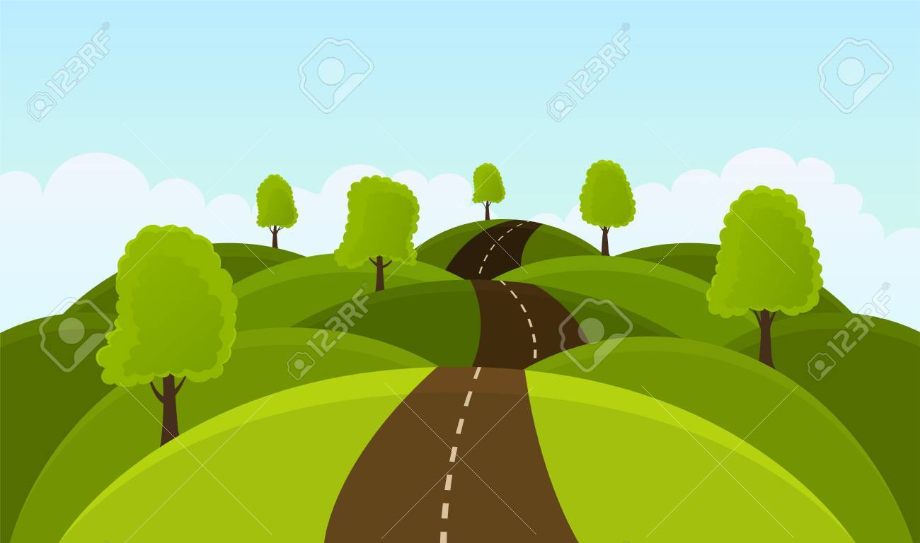 Road on hills among trees and meadows. Summer landscape - 64830701