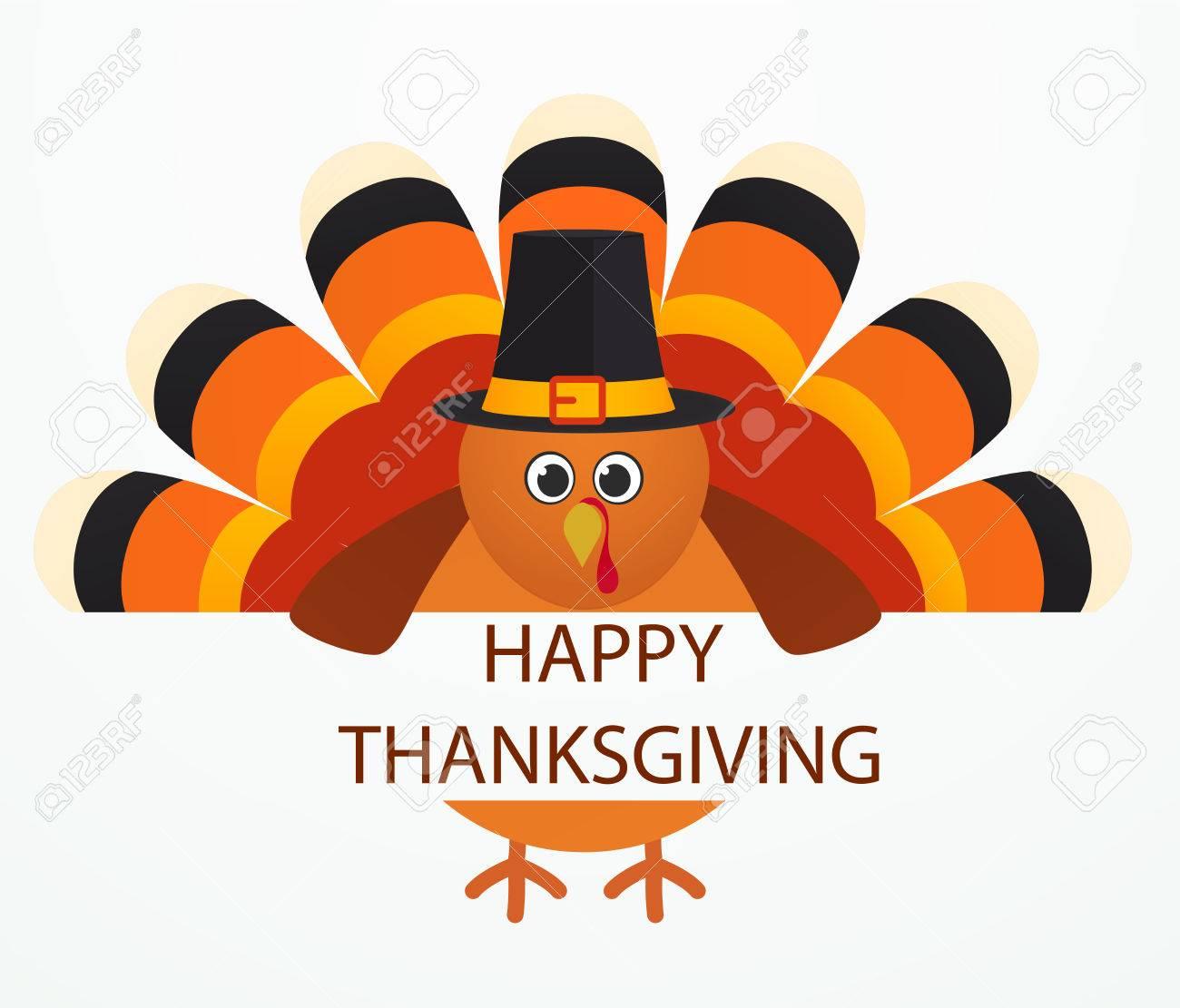 Día De Gracias Pájaro Colorido Del Pavo De Dibujos Animados