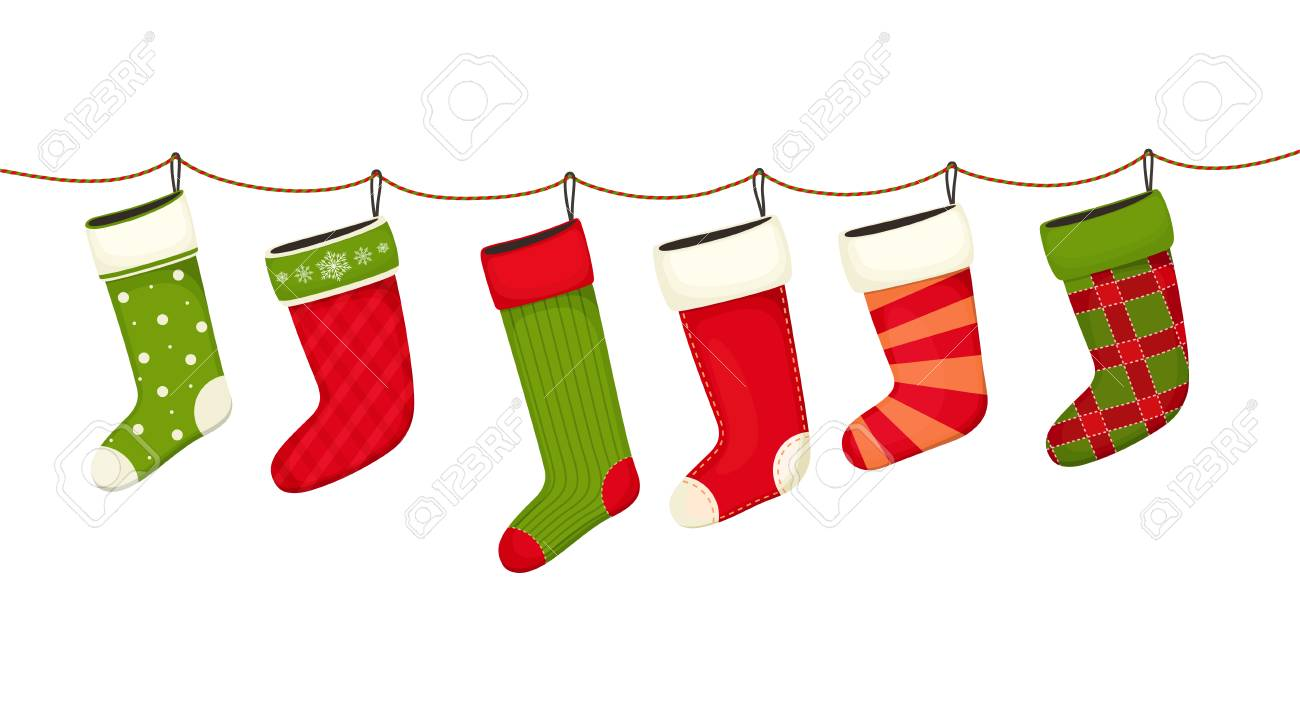 Christmas Stockings Hanging New Year Decorations For Gifts