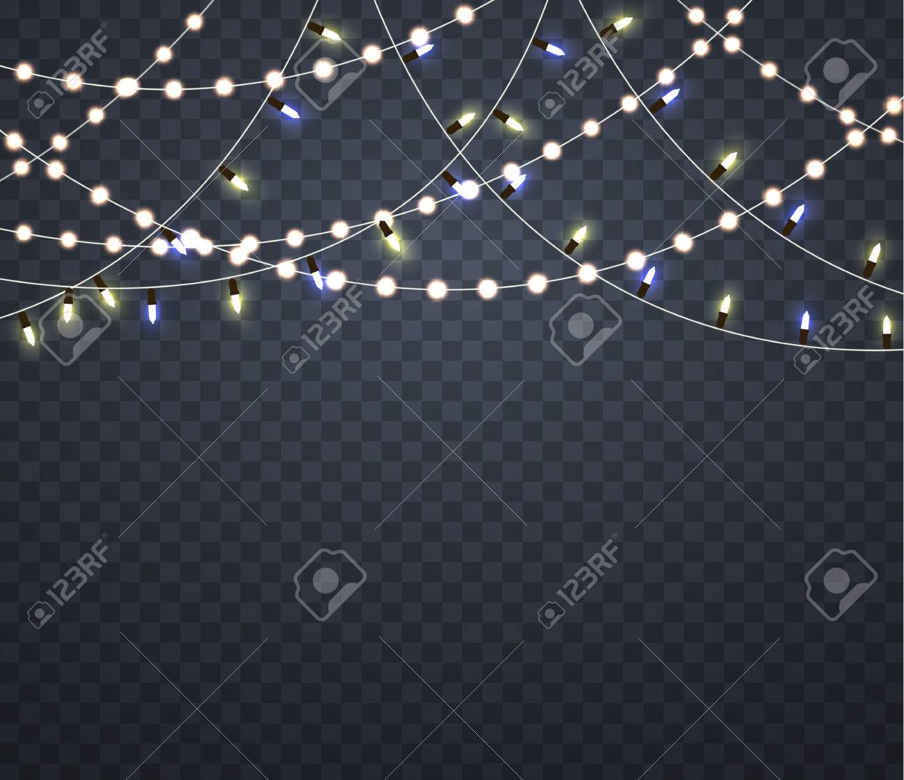 Light garlands. Isolated glowing lights on Christmas. - 67950713