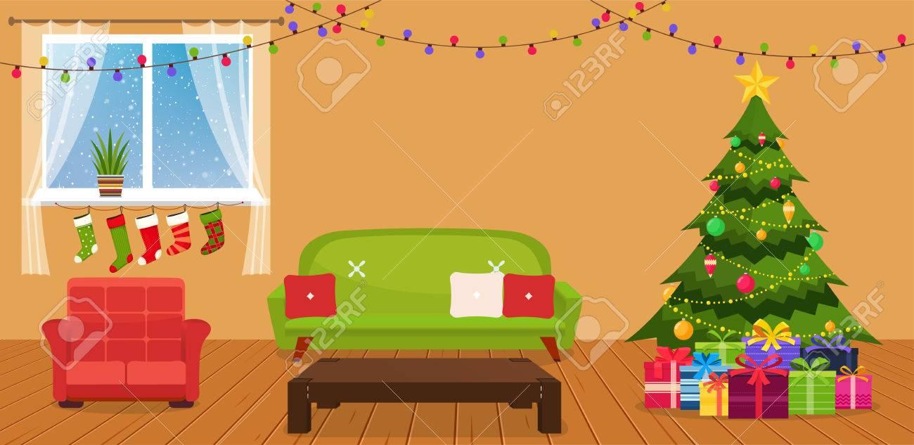 Weihnachtszimmer Interieur Mit Sofa, Schreibtisch Und Grünen ...