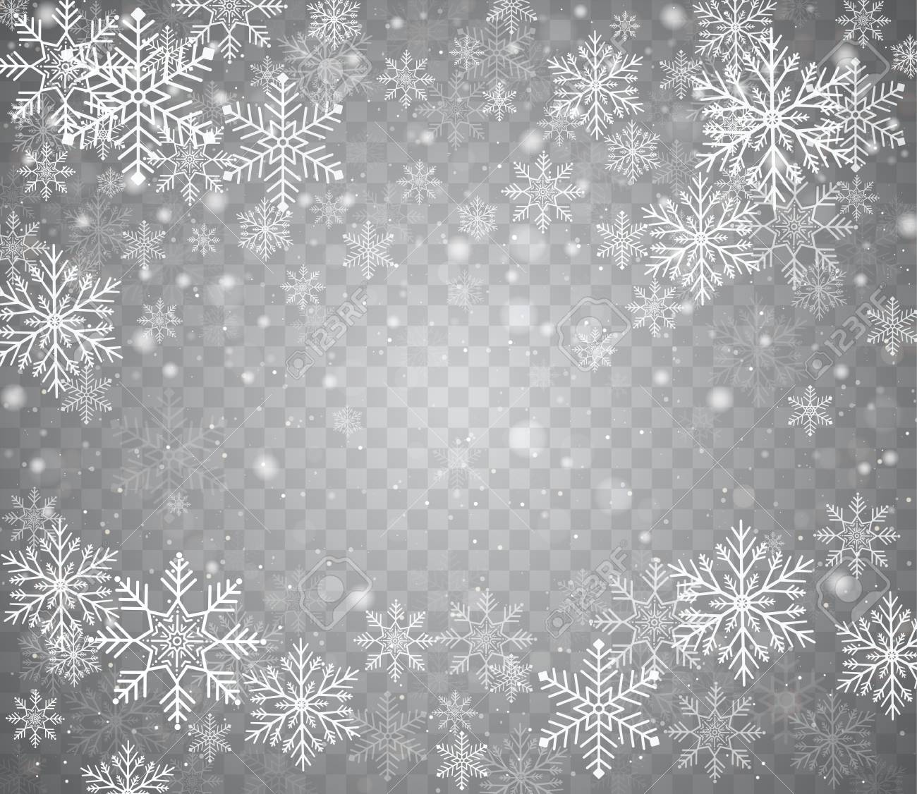 falling snow in different shapes christmas snow with snowflakes