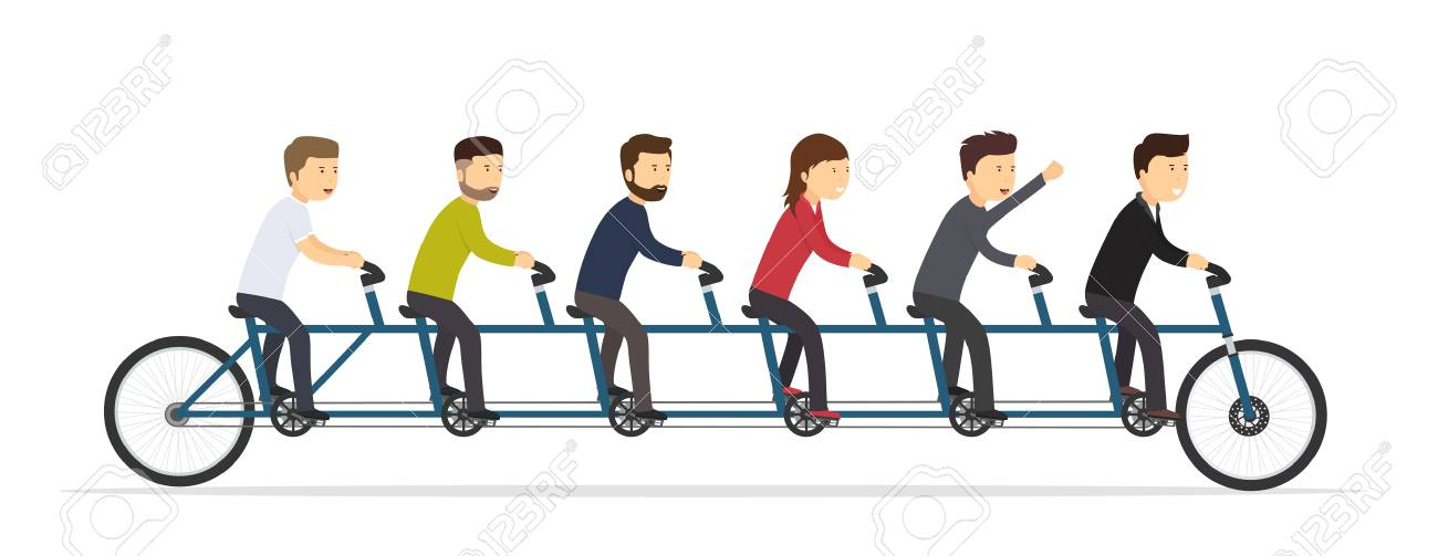 Business people riding on a five-seat bicycle. Team joint concept of success. - 96606413