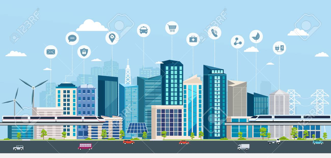 Smart City with business signs. Online concept modern city. City landscape with transport infrastructure - 96606416