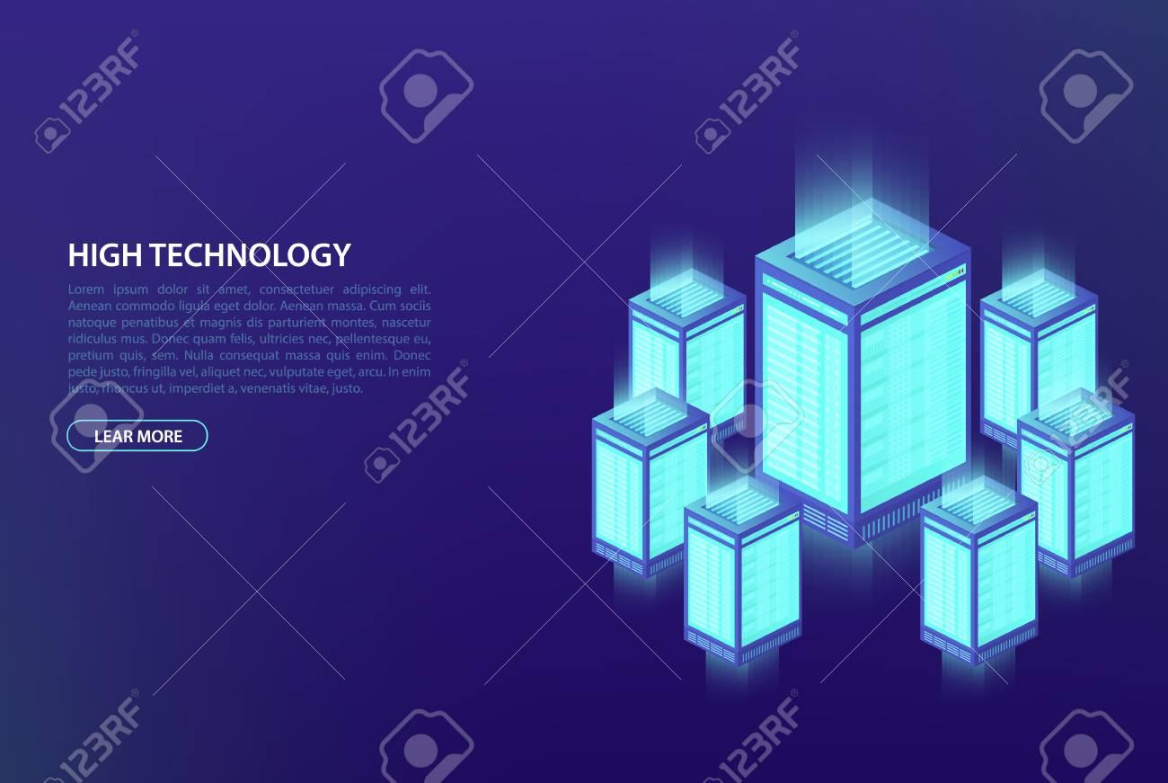 Big data, concept of data processing  Data center, cloud database,