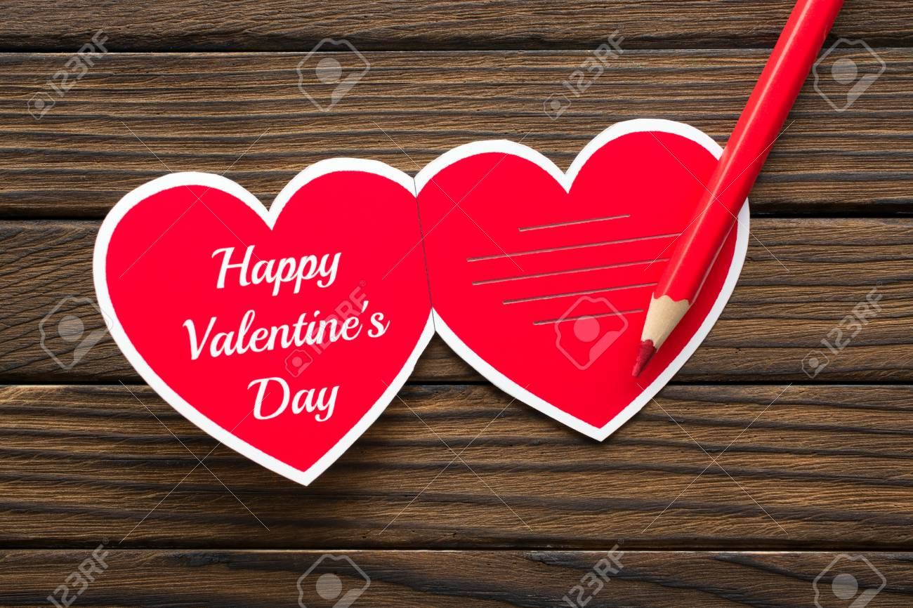 Close Up Heart Shaped Greeting Card With Happy Valentine S Day