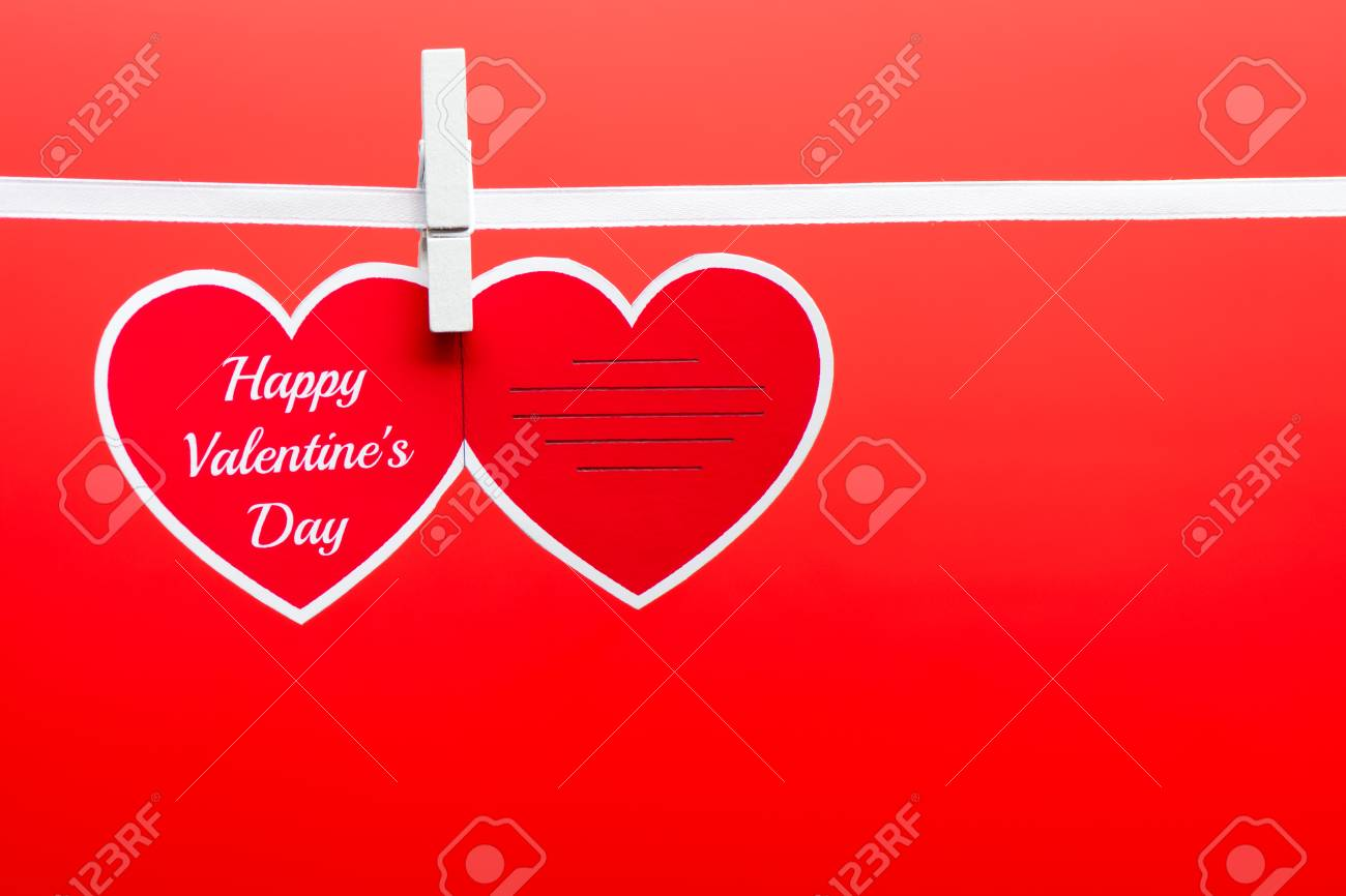 Greeting Card With Happy Valentine S Day Words Pinned On A Rope