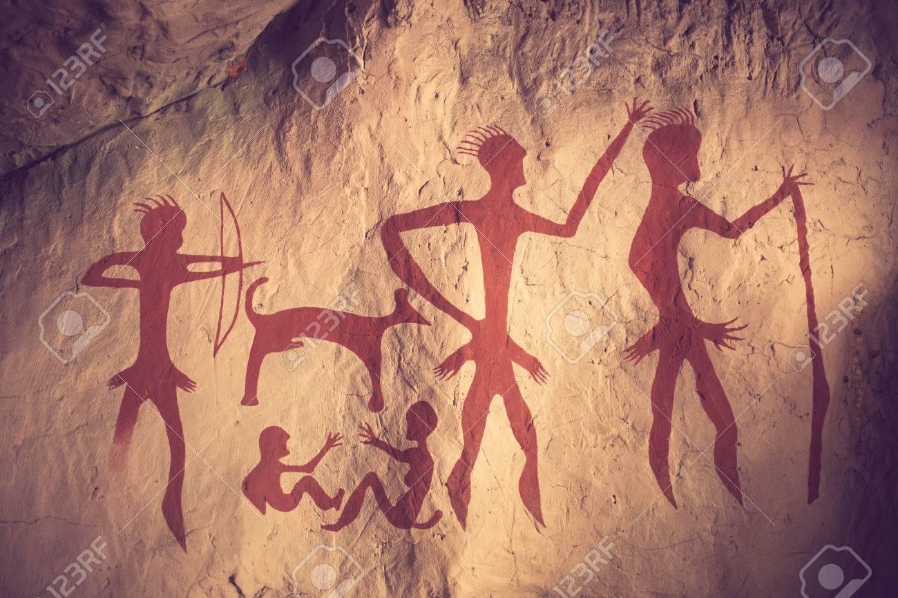 Die Reproduktion Eines Prähistorischen Höhlenmalerei Jahrgang Farbe ...