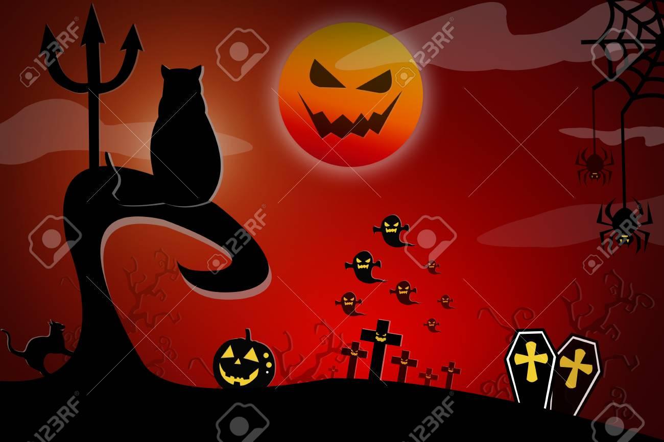Zucca Halloween Gatto.Sfondo Di Halloween Con Gatto Spettrale E Zucche Spazio Per Il Testo Di Festa Di Halloween