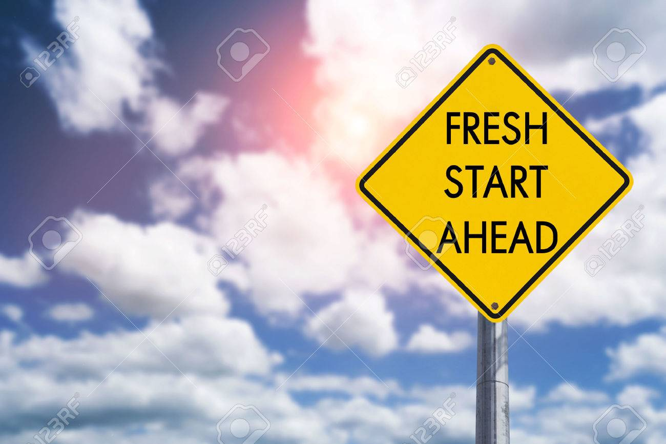 Fresh start ahead road sign concept for business opportunity, future and new career - 61120426