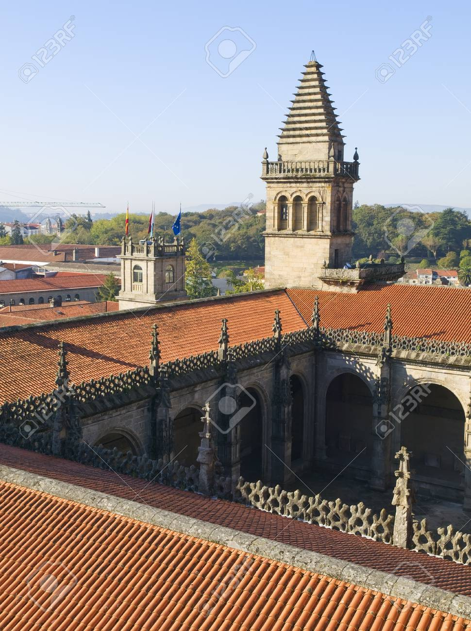 SPAIN - OCTOBER 19: Cathedral of Santiago de Compostela on October 19, 2008 in Santiago de Compostela, La Coruna. Photo taken on the roof of the cathedral, a restricted area. Stock Photo - 17297917