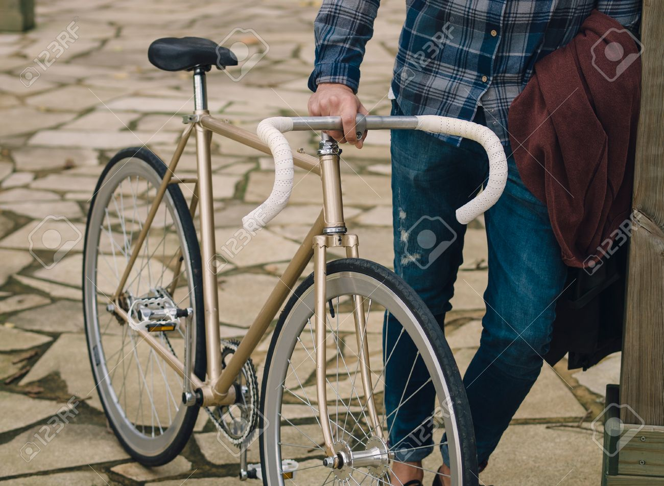 Fixie Bike Detail And Hipster Outdoors Stock Photo Picture And