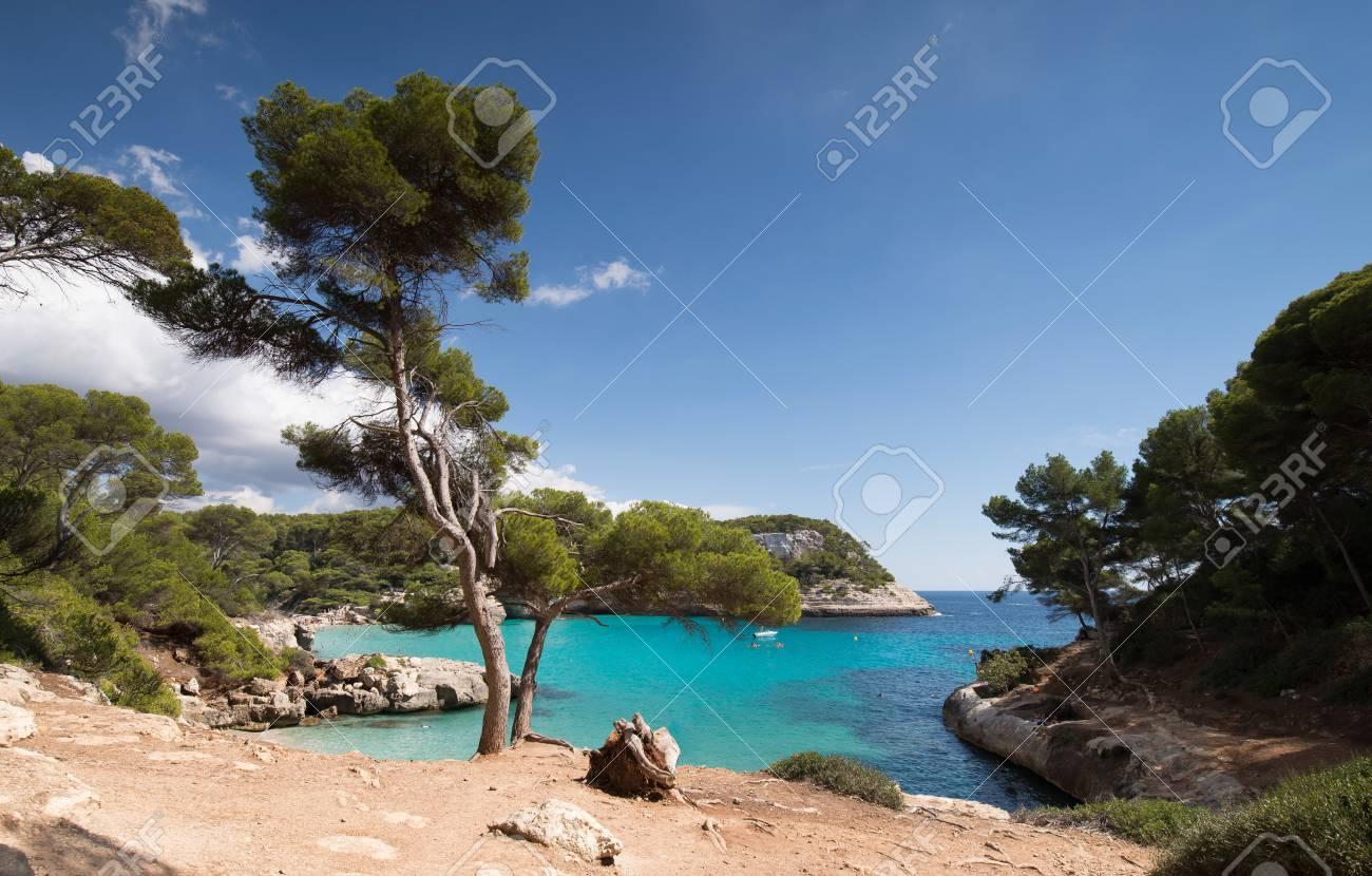 Cala mitjaneta and cala Mitjana in a sunny summer day, Menorca, Spain. - 66132143