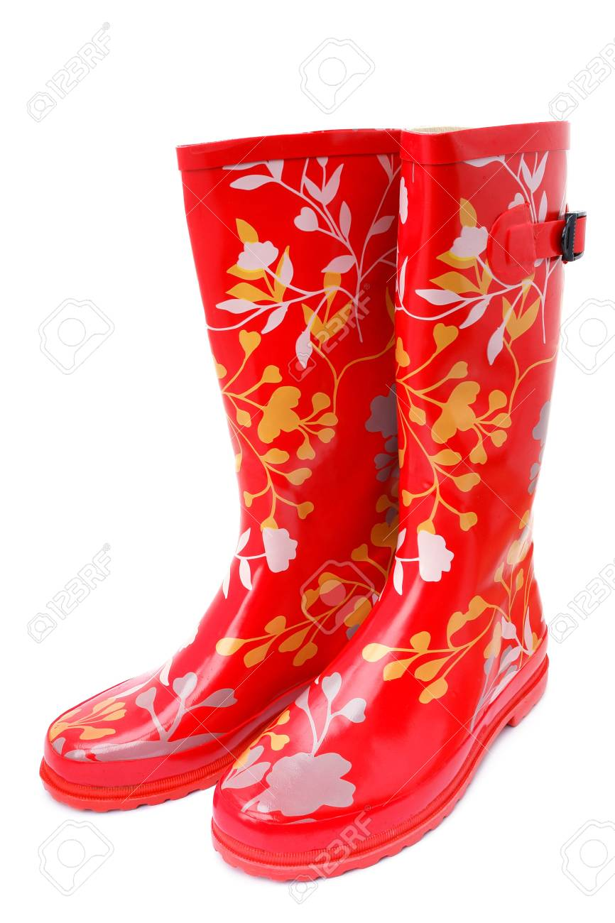 Rubber boots with a pattern on a white background Stock Photo - 8083596
