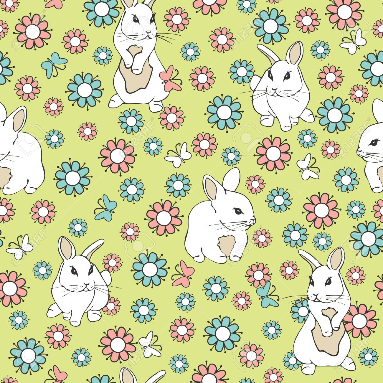 Seamless vector pattern with white bunnies and flowers on green background. Pink and blue flower animal wallpaper design. - 151113232