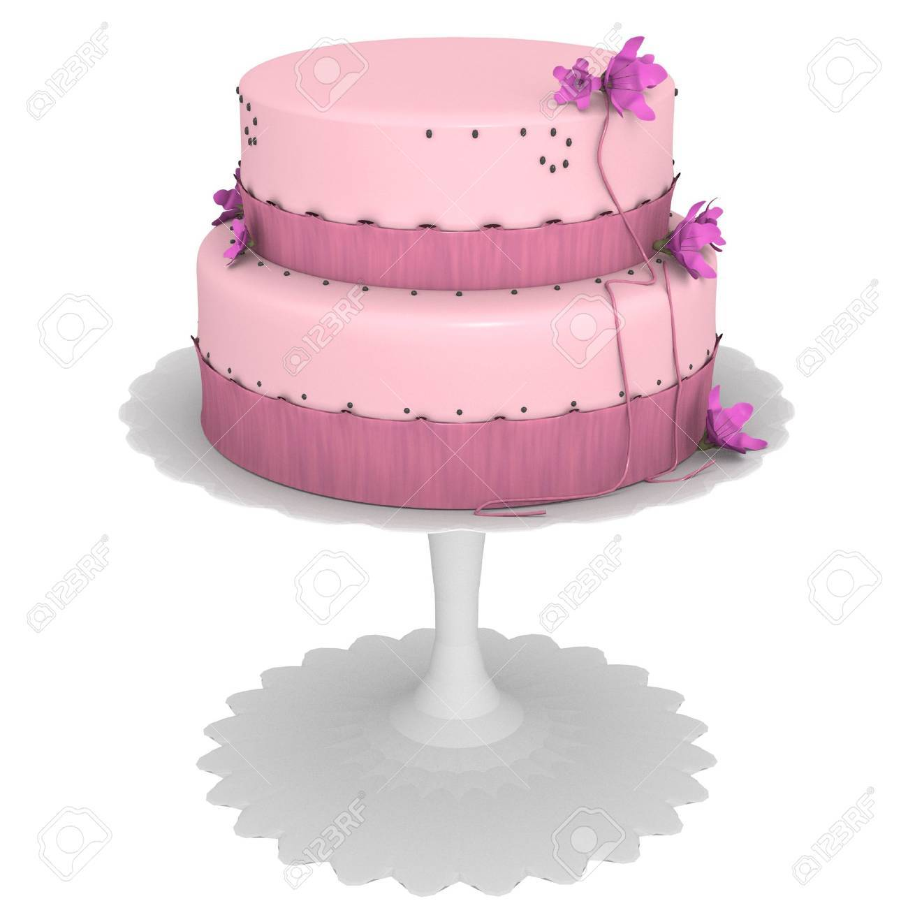 Pink cake with flowers and ribbons, computer generated 3d - 2753021