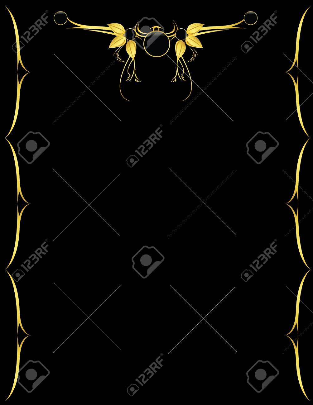 Gold design on a black vertical page Stock Photo - 3464178