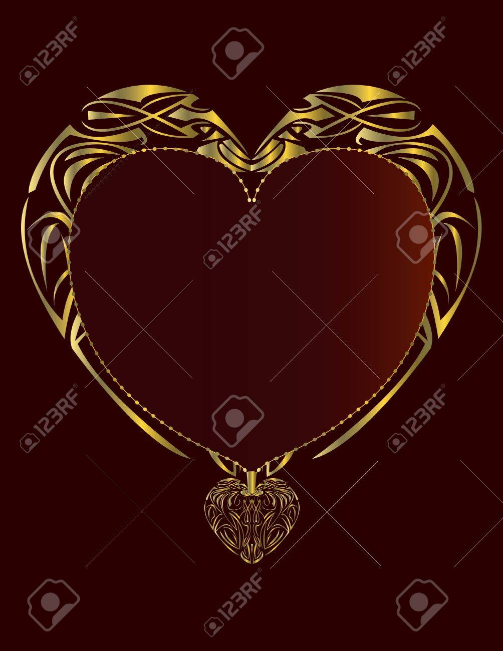 Gold heart frame on a red background page Stock Photo - 3464211