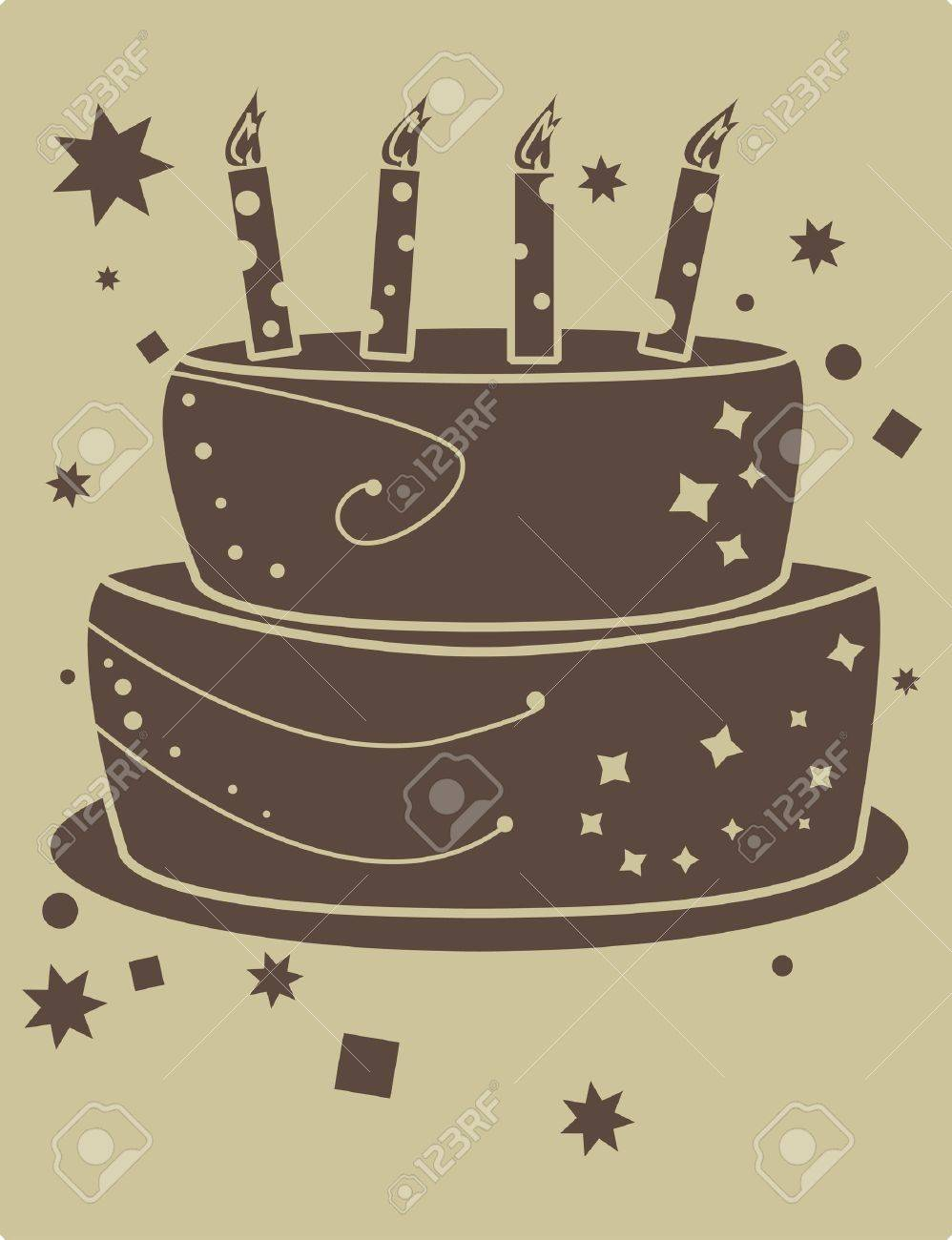 birthday cake graphic in brown and tan - 3475487