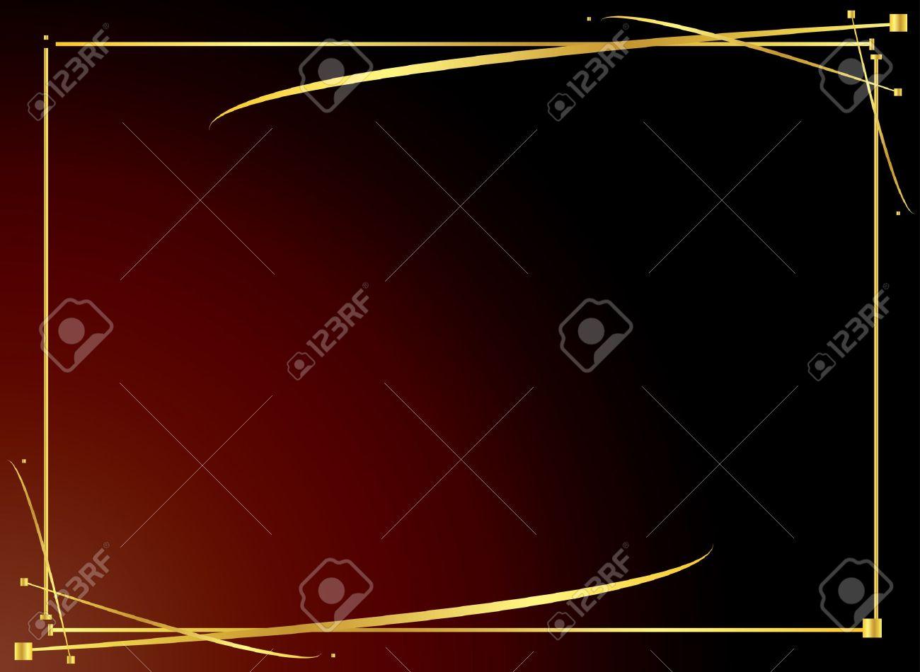 Elegant gold frame on a red gradient background - 3501953