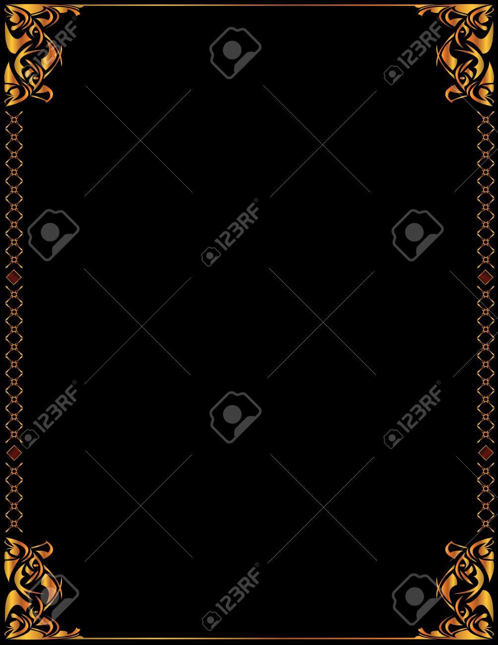 Gold elegant frame design on a black background - 3536580