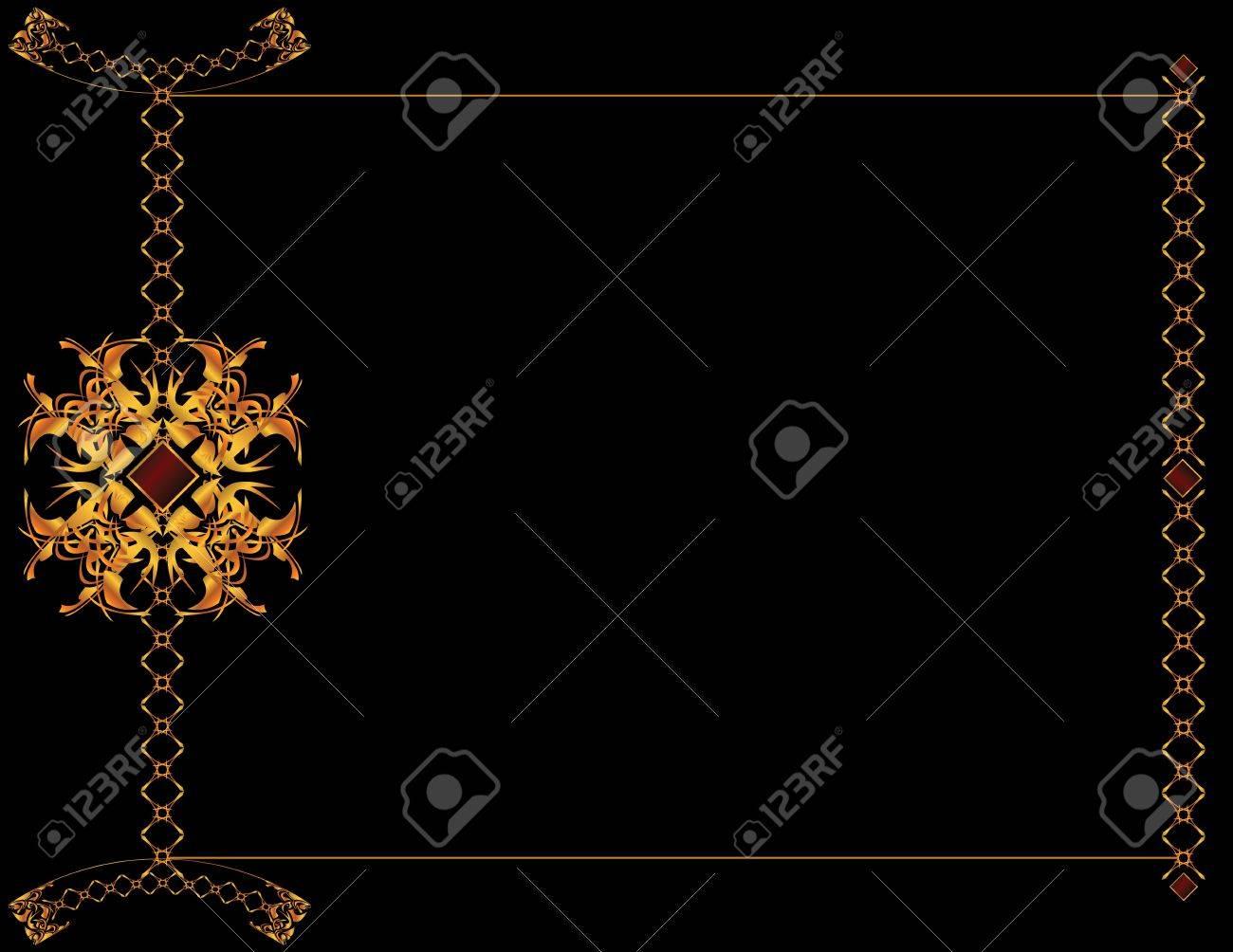 Oro Elegante Marco De Un Diseño En Fondo Negro Fotos, Retratos ...