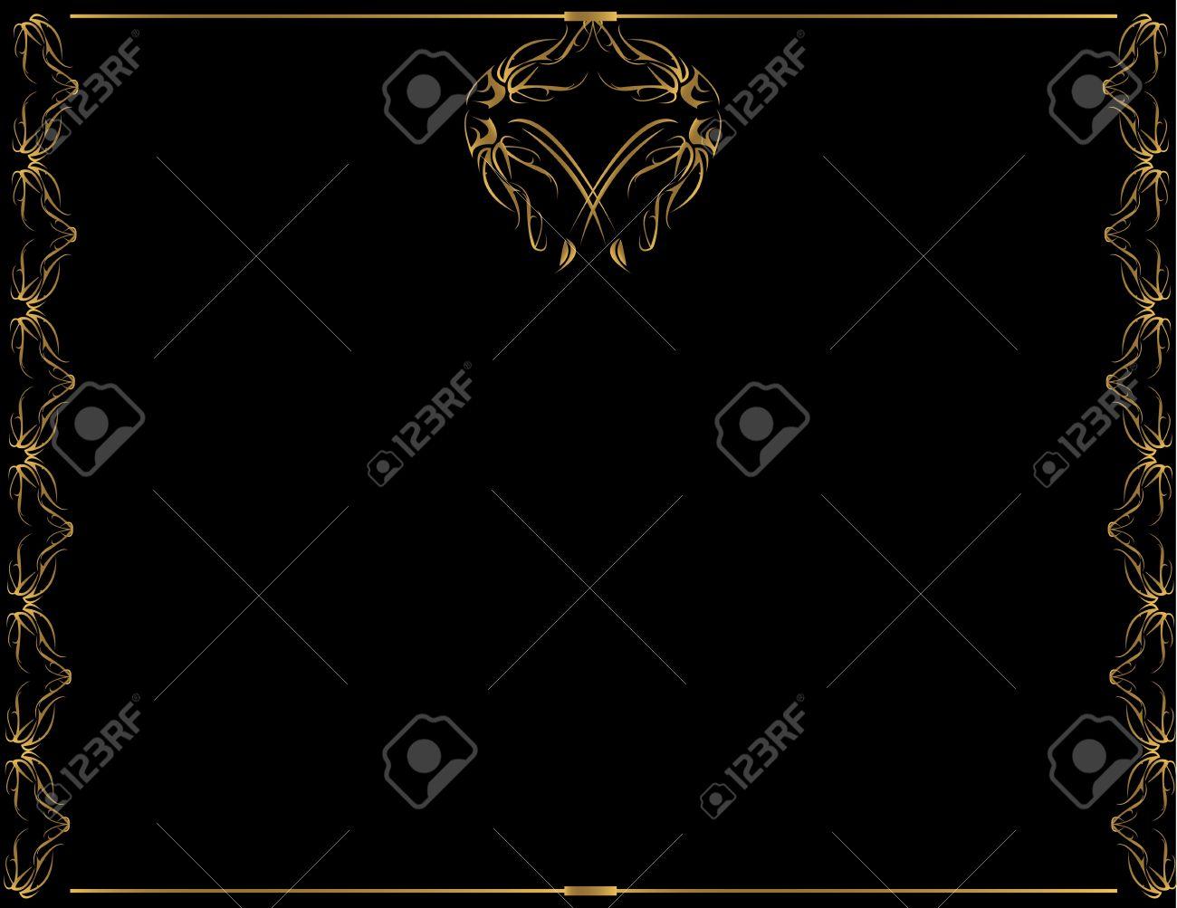 Gold frame design with black background - 3599493