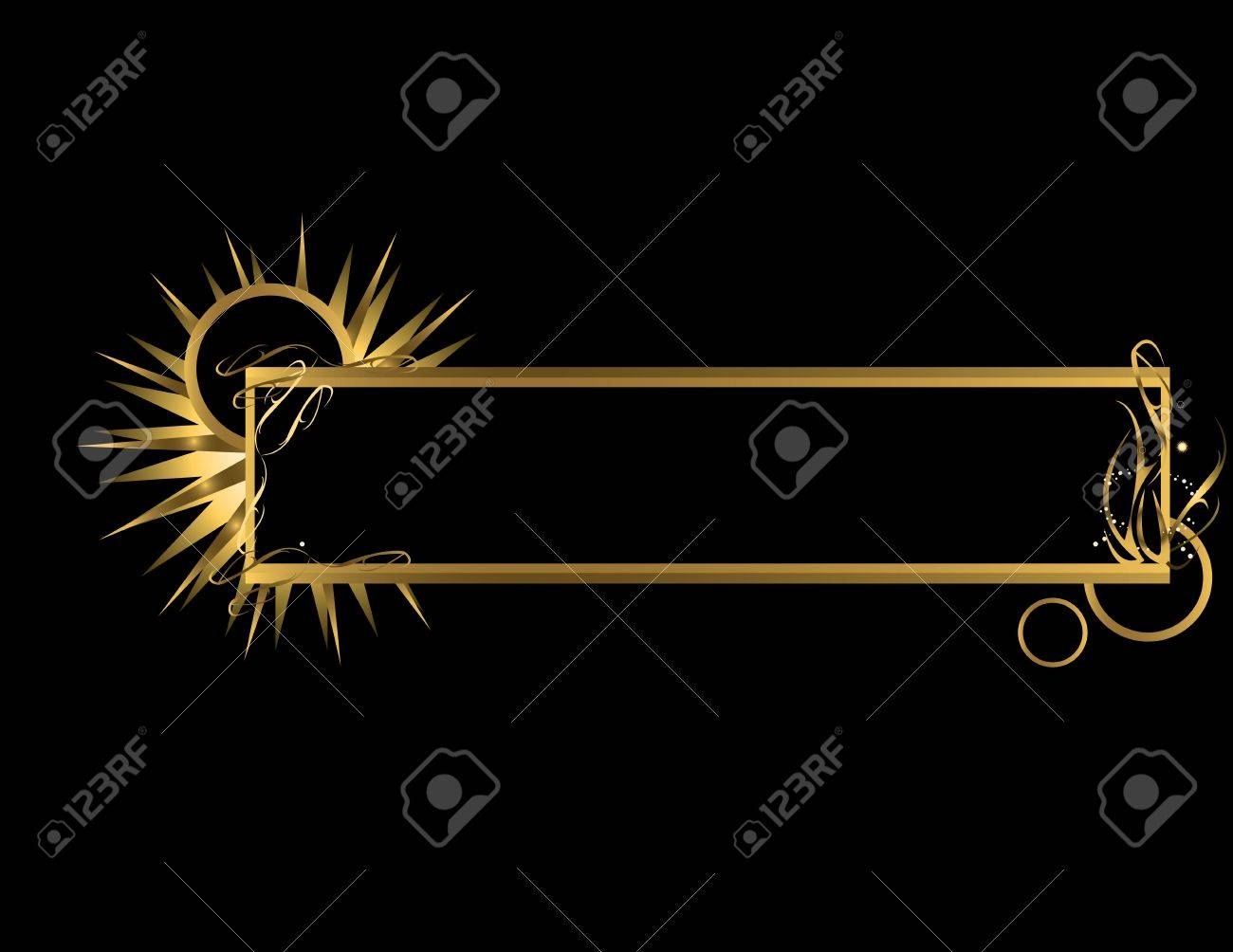 Gold abstract banner on a black background - 3853185