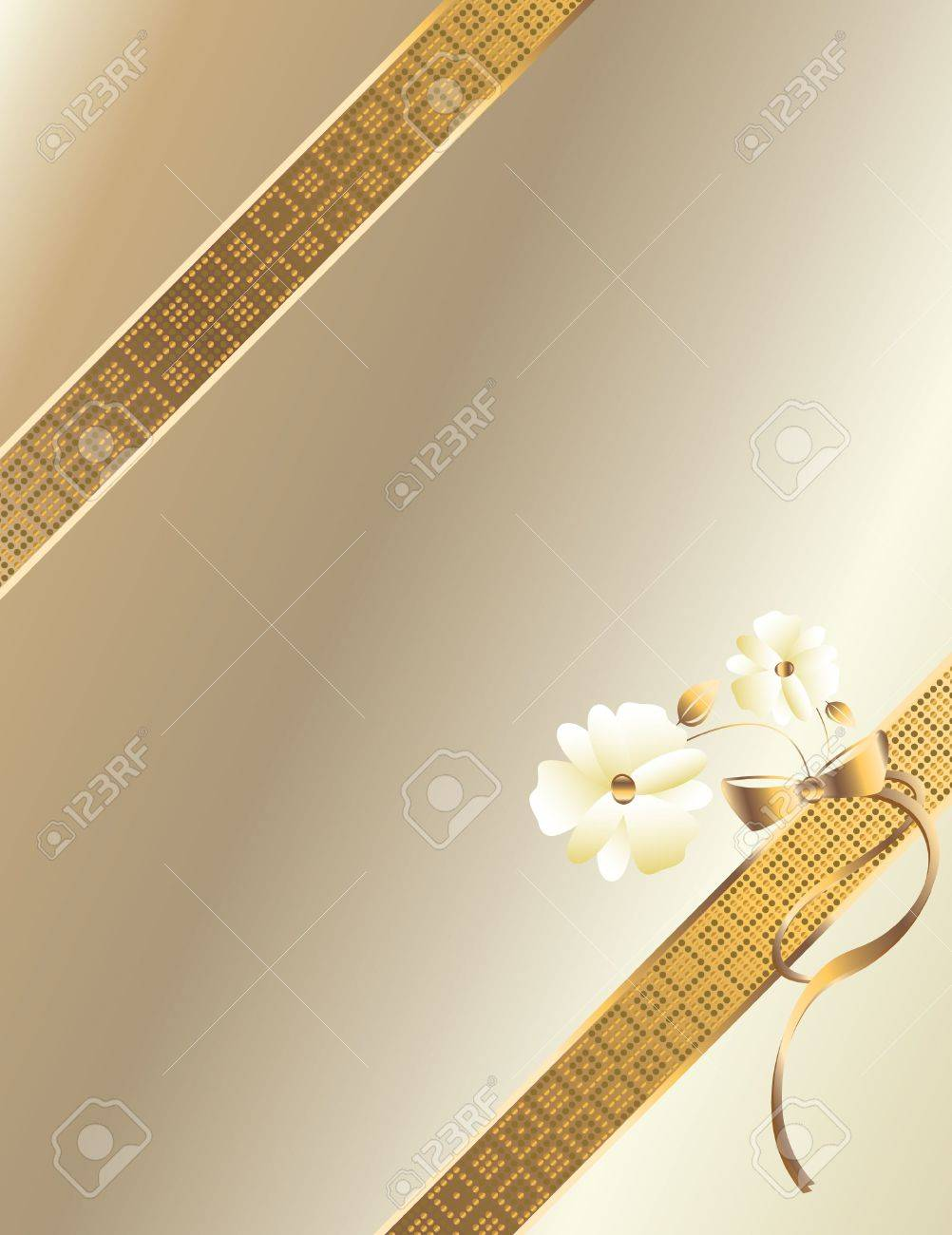 Gold ribbon  with flowers on a white background Stock Photo - 4020130