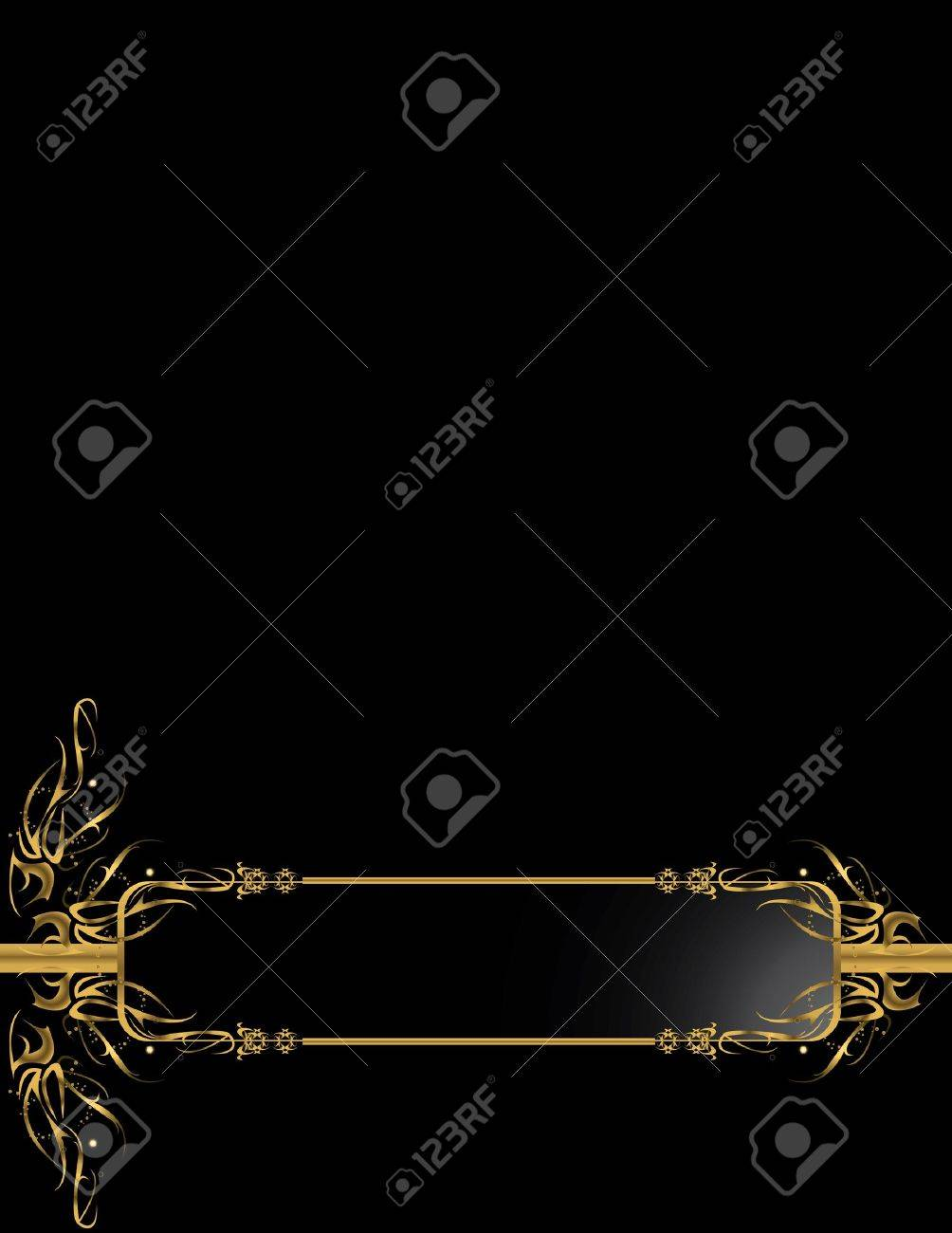 Gold black elegant design on a black background Stock Photo - 4106054