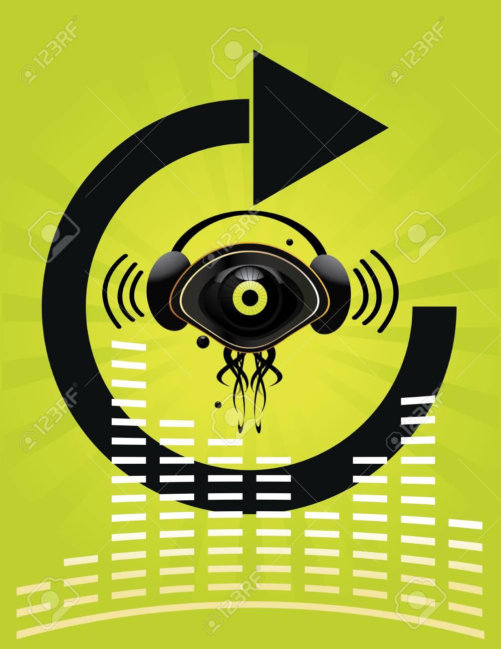 Eye character with headphones on green background Stock Photo - 4226015
