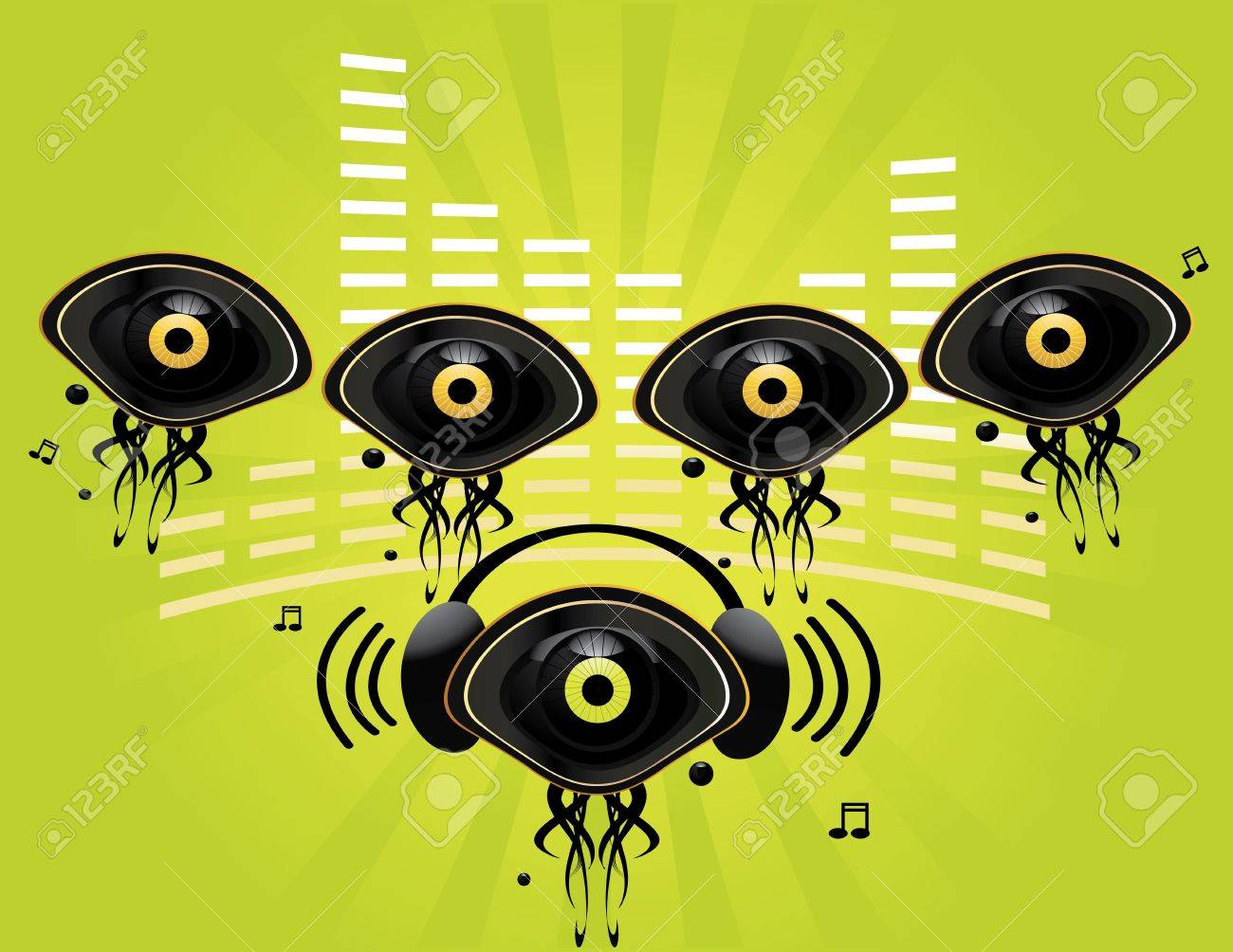 Eye character music group on a green background Stock Photo - 4226016