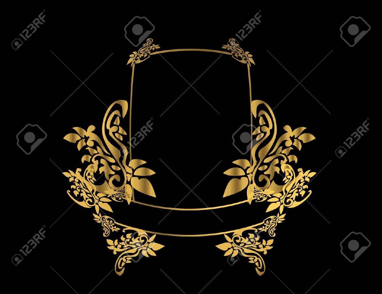Gold floral frame on a black background - 4485716