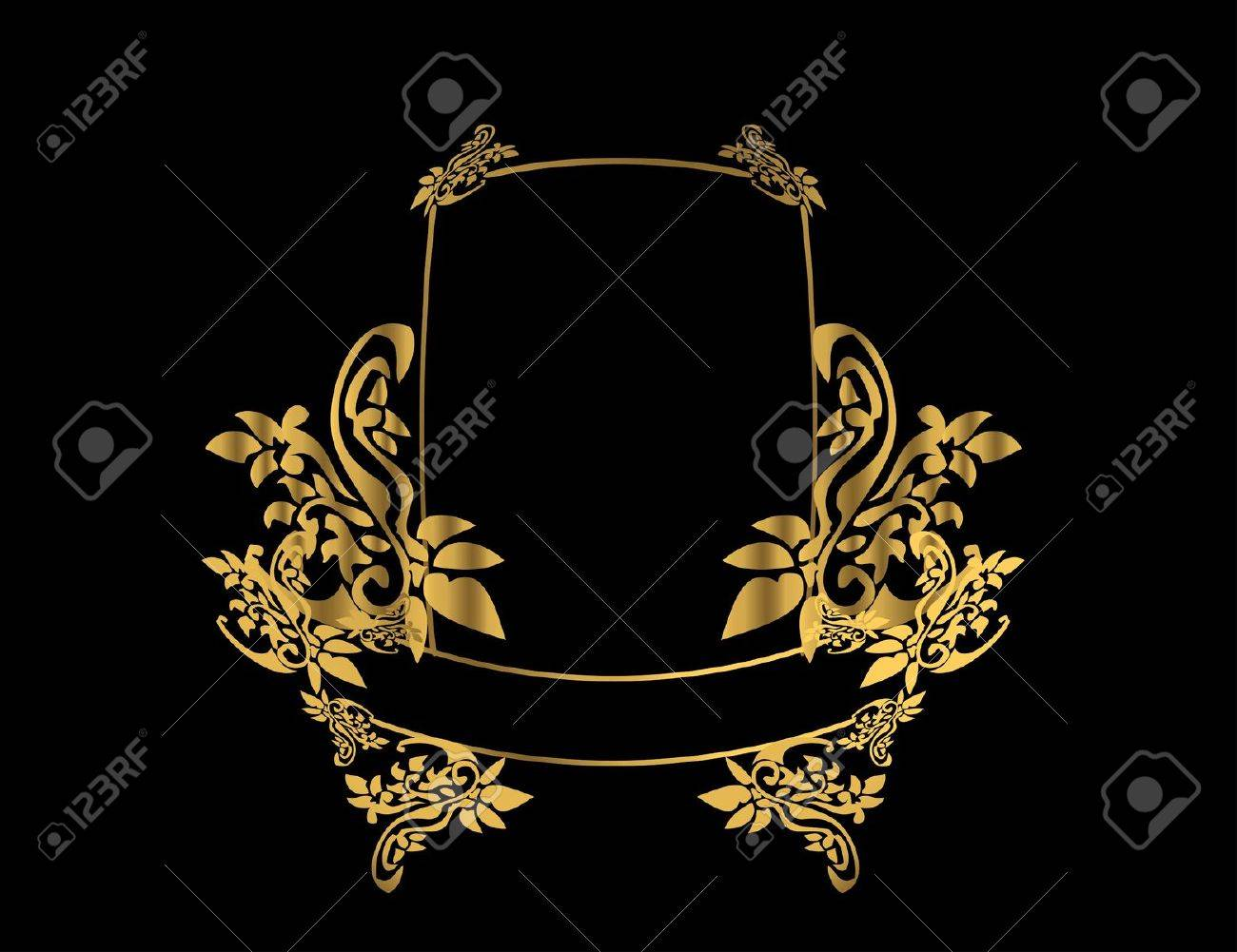 Gold Floral Frame On A Black Background Stock Photo Picture And