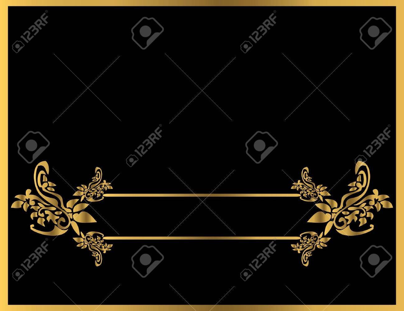Gold floral frame on a black background - 4485715