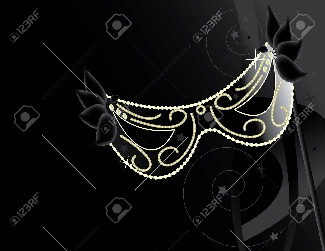 Black mask with decoration on a dark background Stock Photo - 4634163