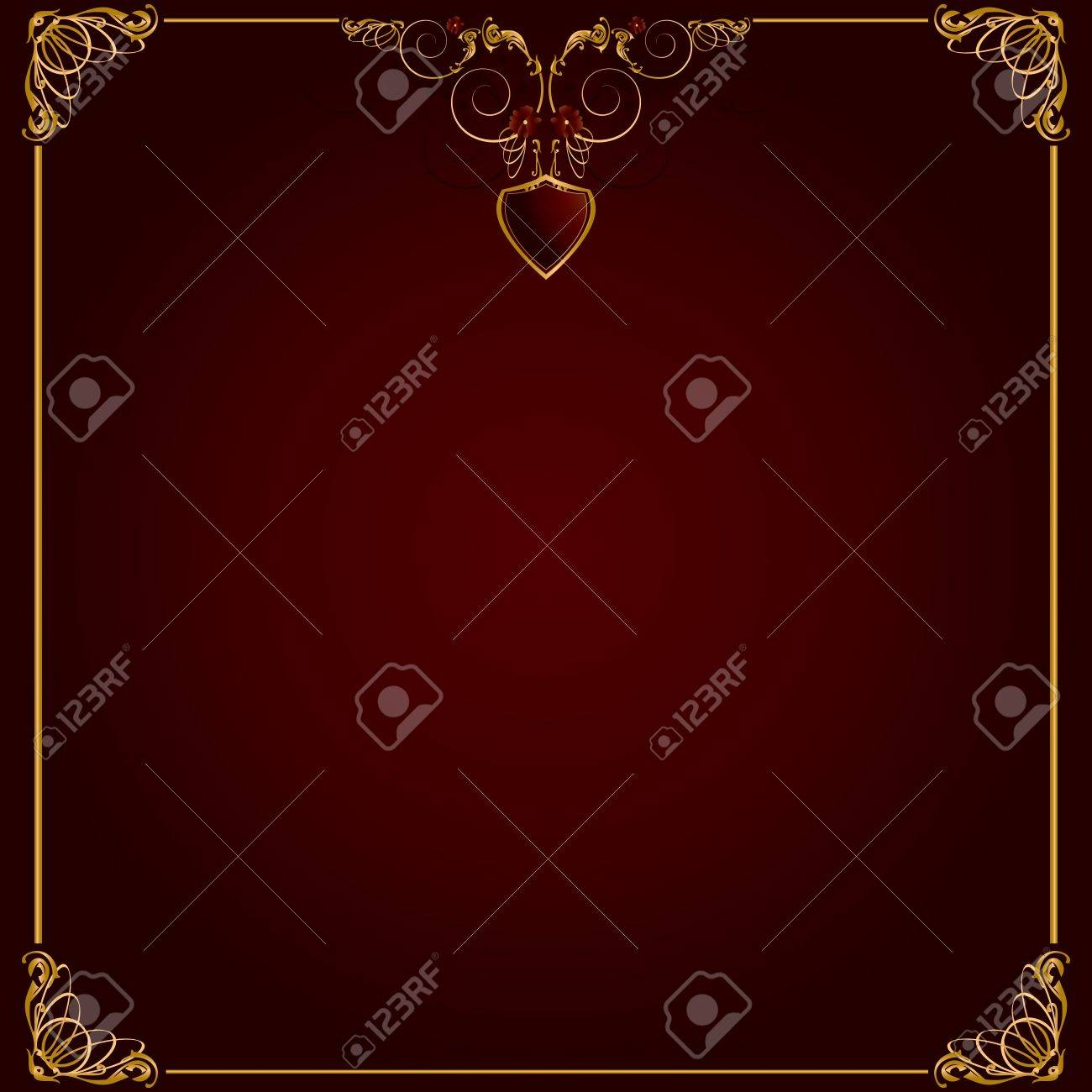 Delicate gold frame design on a red background - 4679337