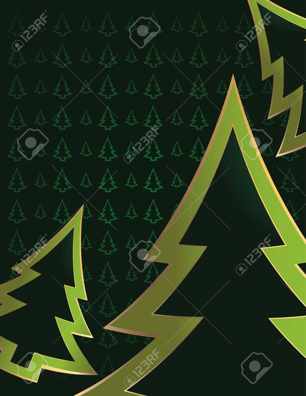 Bright green pine tree outlines cropped on a darker green pine tree patterned background - 4720642