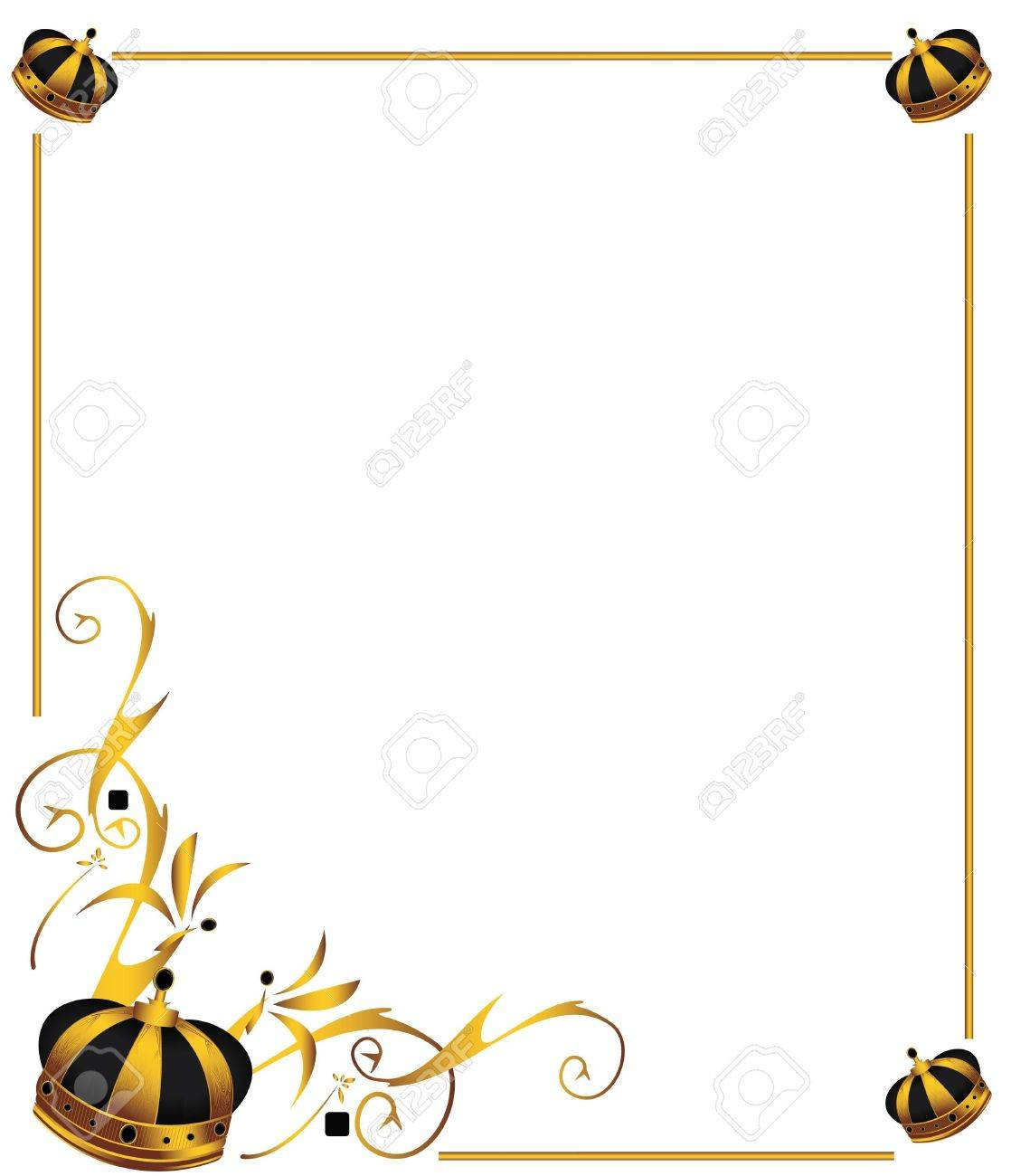 Gold crown on frame isolated on a white background - 4829727
