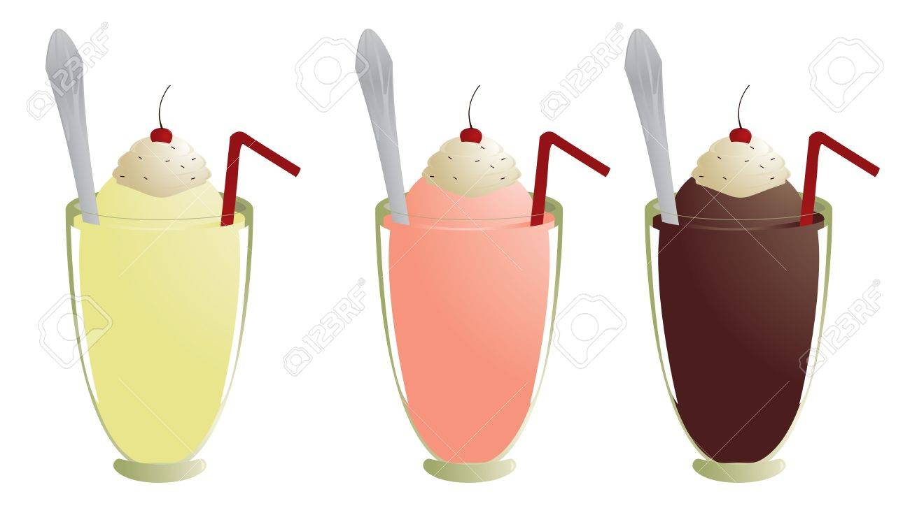 Milkshakes with topping straw and spoon isolated on white - 4993886