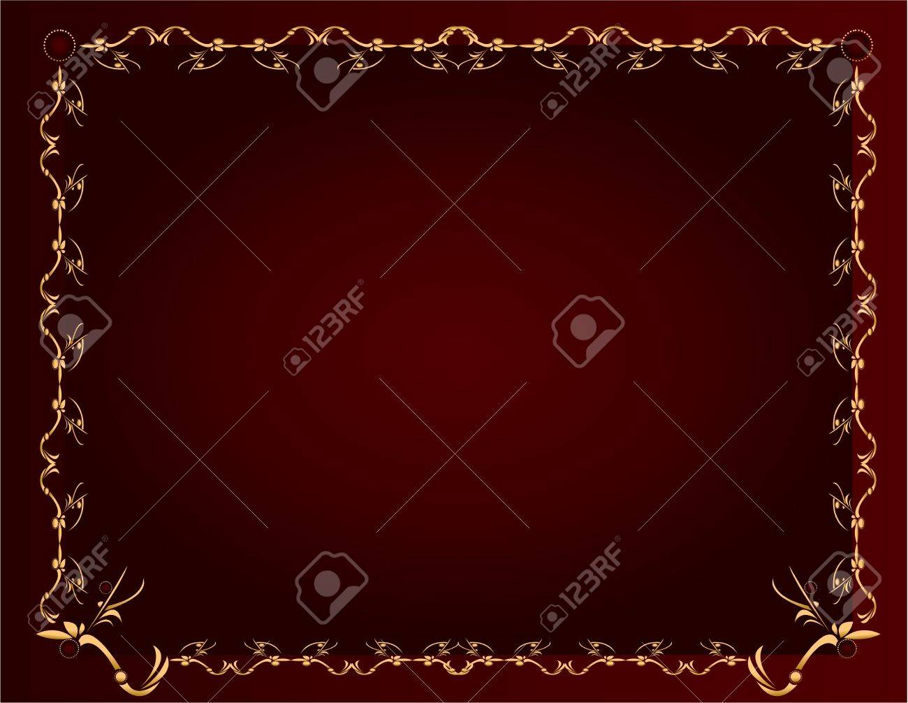 Gold abstract design on a burgundy background with space for copy - 5162057