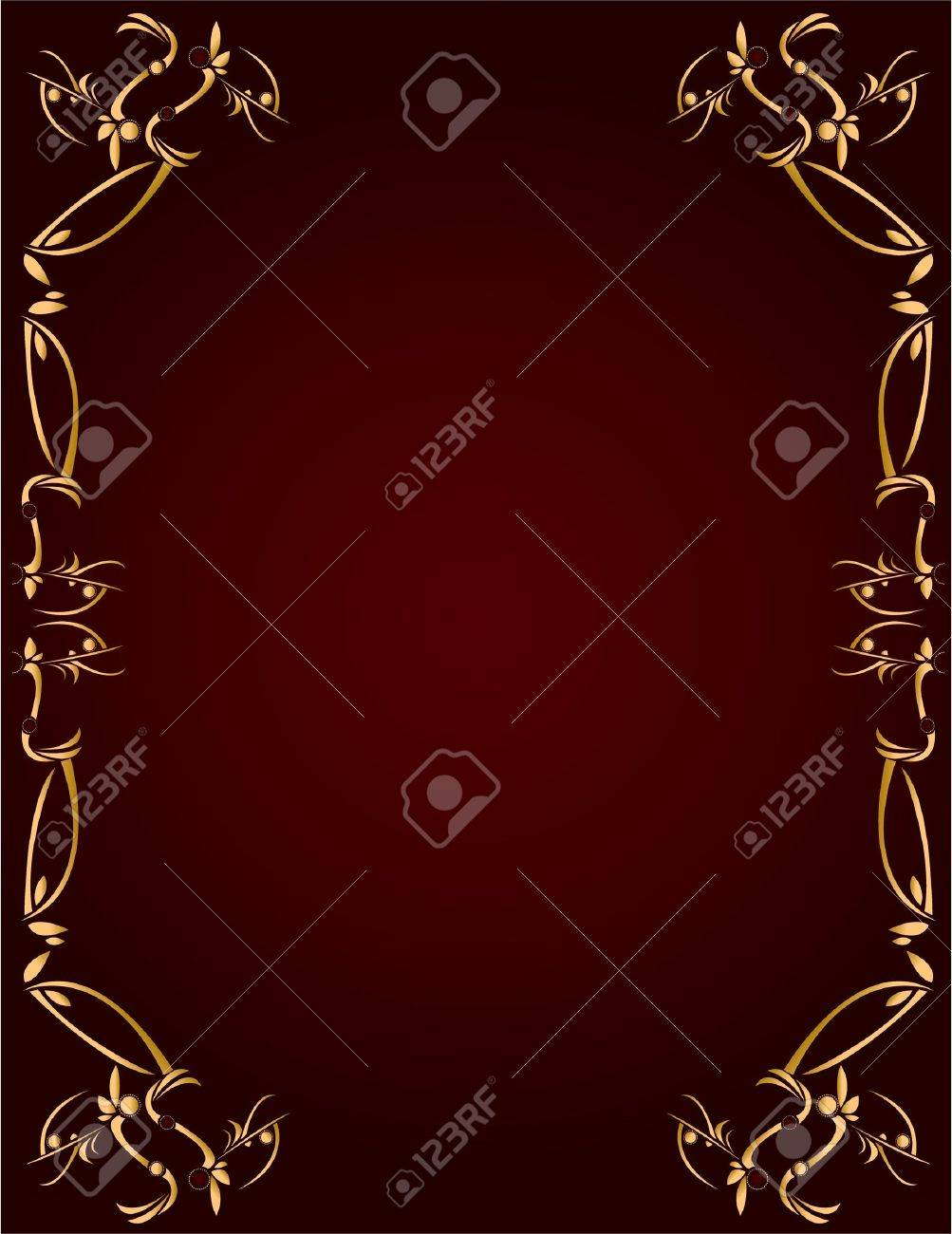 Gold abstract design on a burgundy background with space for copy - 5162056