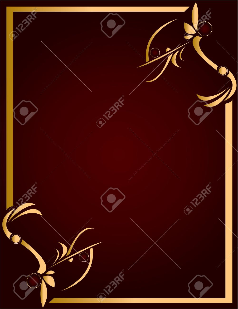 Gold abstract design on a burgundy background with space for copy Stock Photo - 5162047