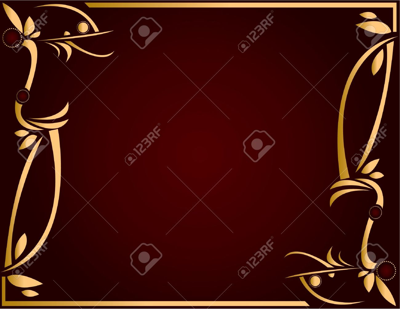 Gold abstract design on a burgundy background with space for copy Stock Photo - 5162048