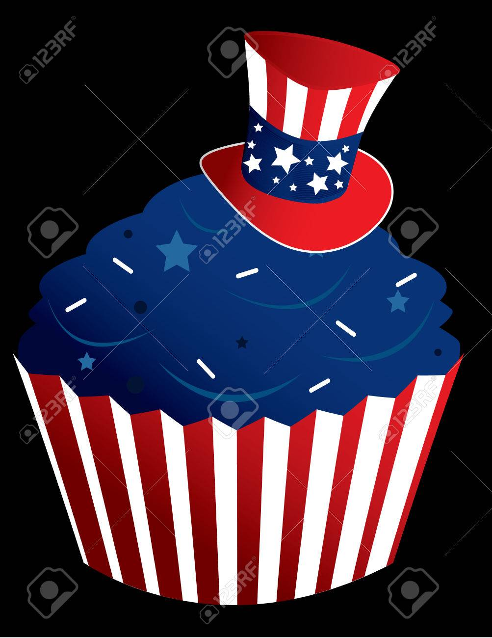 American themed cupcake in a striped wrapper with sprinkles Stock Vector - 6468305