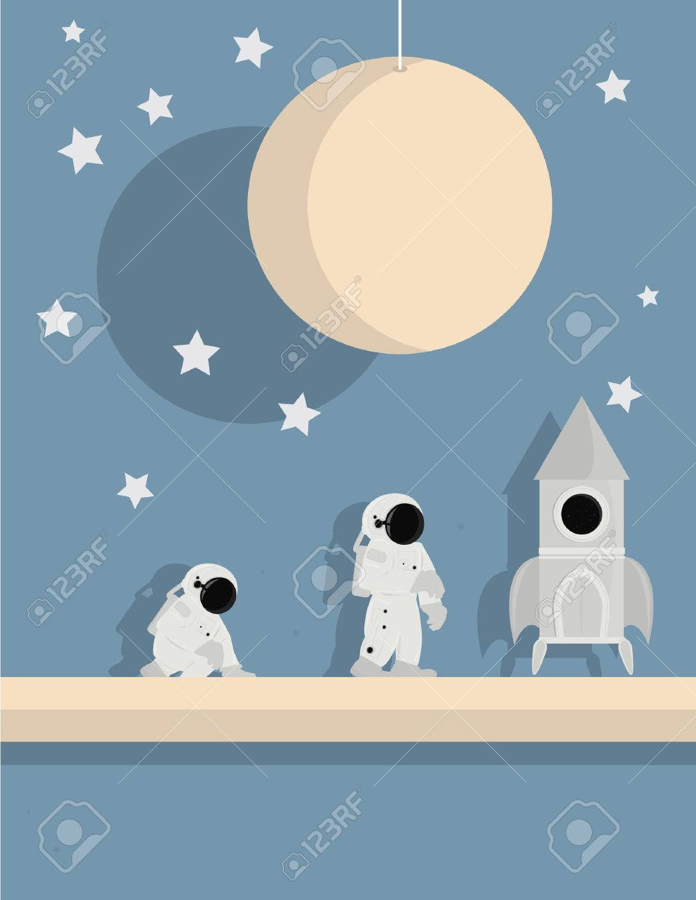 standing and kneeling astronauts with ship on a star background with pink planet and white stars Stock Vector - 6468279