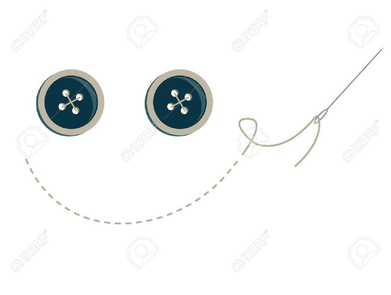 blue buttons with stitching and needle making a smiley face - 6468196